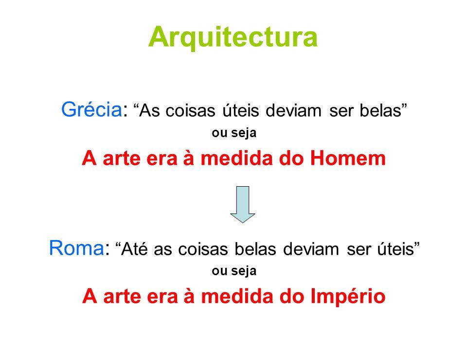 Arquitectura Grécia: As coisas úteis deviam ser belas ou seja A arte era à medida do Homem Roma: Até as coisas belas deviam ser úteis ou seja A arte e