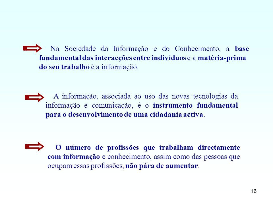 16 A informação, associada ao uso das novas tecnologias da informação e comunicação, é o instrumento fundamental para o desenvolvimento de uma cidadan
