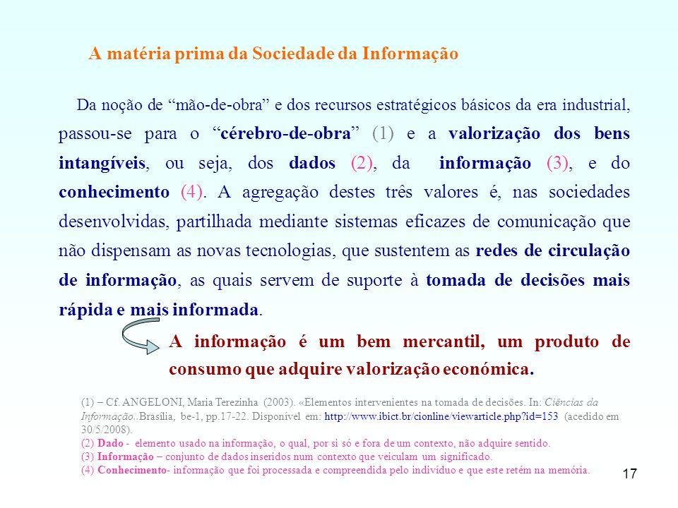 17 A matéria prima da Sociedade da Informação Da noção de mão-de-obra e dos recursos estratégicos básicos da era industrial, passou-se para o cérebro-