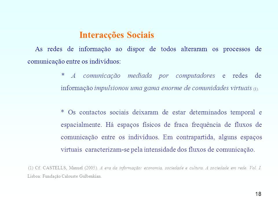 18 Interacções Sociais As redes de informação ao dispor de todos alteraram os processos de comunicação entre os indivíduos: * A comunicação mediada po