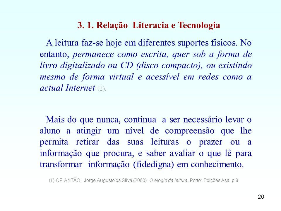 20 A leitura faz-se hoje em diferentes suportes físicos. No entanto, permanece como escrita, quer sob a forma de livro digitalizado ou CD (disco compa