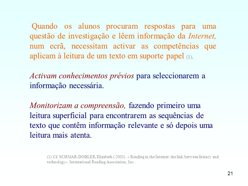 21 Quando os alunos procuram respostas para uma questão de investigação e lêem informação da Internet, num ecrã, necessitam activar as competências qu