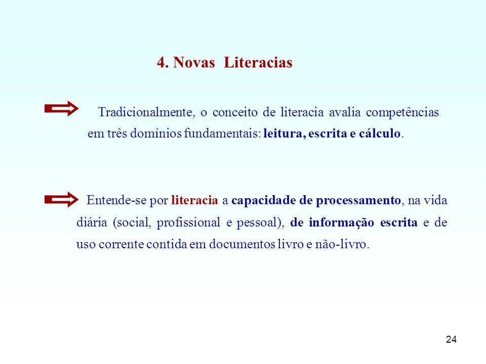 24 Entende-se por literacia a capacidade de processamento, na vida diária (social, profissional e pessoal), de informação escrita e de uso corrente co