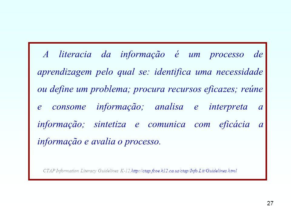 27 A literacia da informação é um processo de aprendizagem pelo qual se: identifica uma necessidade ou define um problema; procura recursos eficazes;