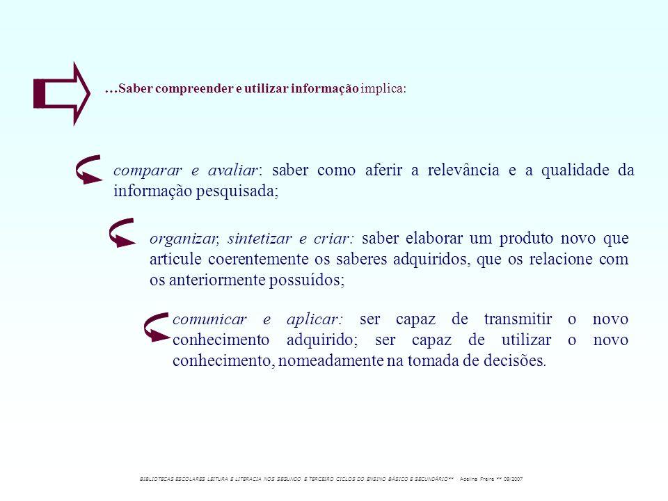 …Saber compreender e utilizar informação implica: comparar e avaliar: saber como aferir a relevância e a qualidade da informação pesquisada; organizar