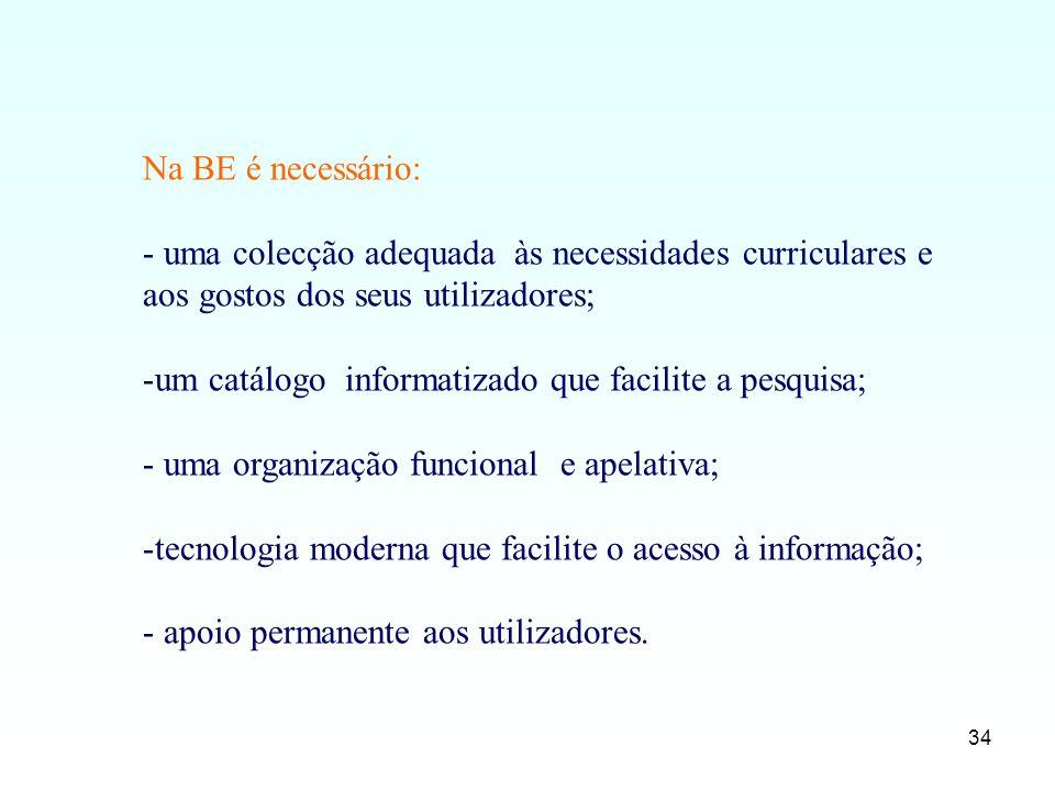 34 Na BE é necessário: - uma colecção adequada às necessidades curriculares e aos gostos dos seus utilizadores; -um catálogo informatizado que facilit