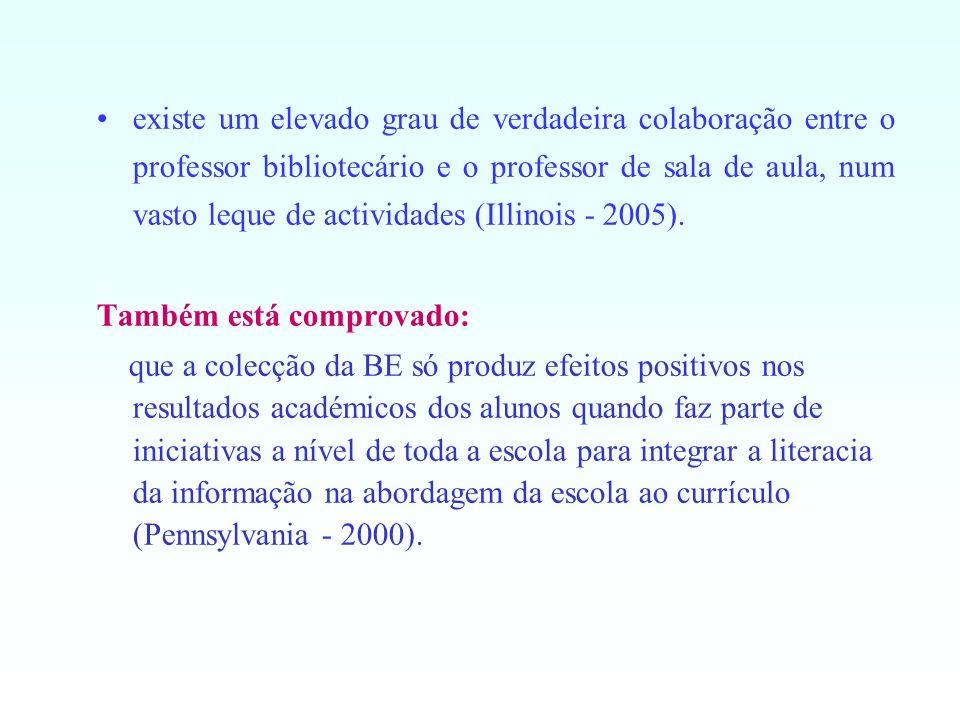 existe um elevado grau de verdadeira colaboração entre o professor bibliotecário e o professor de sala de aula, num vasto leque de actividades (Illino