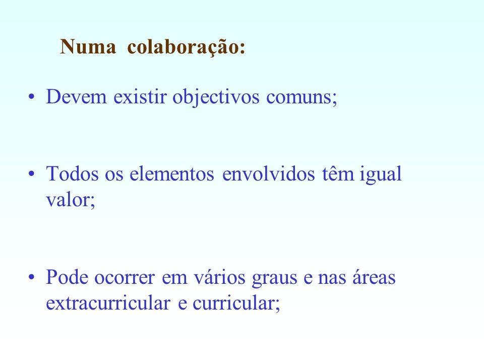 Numa colaboração: Devem existir objectivos comuns; Todos os elementos envolvidos têm igual valor; Pode ocorrer em vários graus e nas áreas extracurric