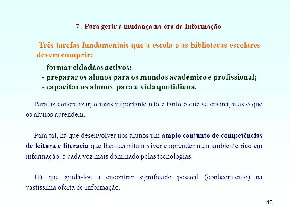 45 Três tarefas fundamentais que a escola e as bibliotecas escolares devem cumprir: 7. Para gerir a mudança na era da Informação - formar cidadãos act