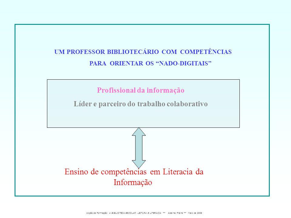 Profissional da informação Líder e parceiro do trabalho colaborativo Ensino de competências em Literacia da Informação Acção de Formação: A BIBLIOTECA