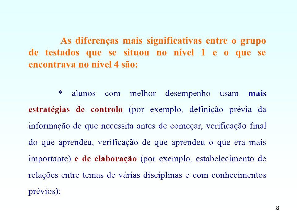 8 As diferenças mais significativas entre o grupo de testados que se situou no nível 1 e o que se encontrava no nível 4 são: * alunos com melhor desem