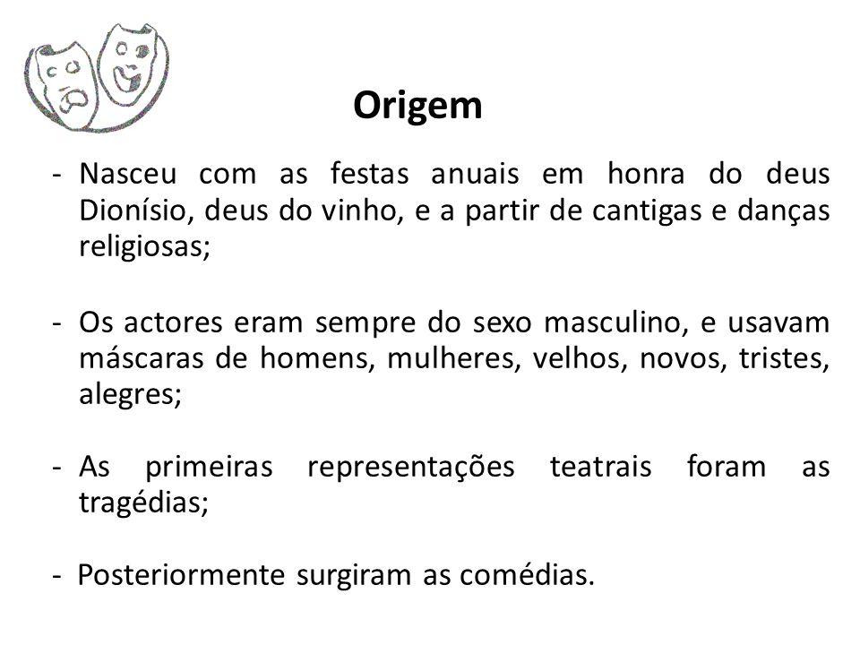 Origem -Nasceu com as festas anuais em honra do deus Dionísio, deus do vinho, e a partir de cantigas e danças religiosas; -Os actores eram sempre do s