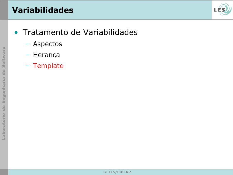 Variabilidades Tratamento de Variabilidades –Aspectos –Herança –Template © LES/PUC-Rio