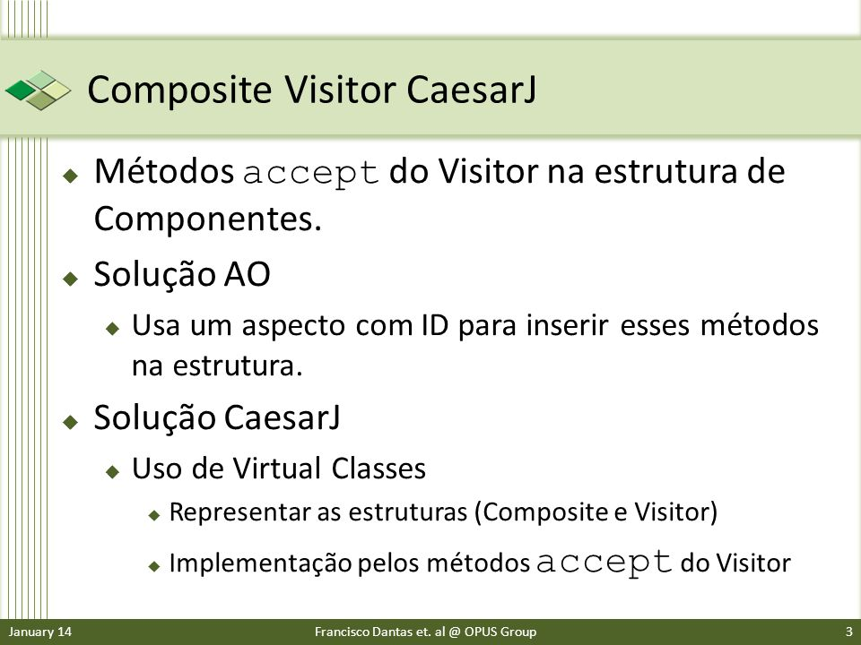 Composite Visitor CaesarJ Métodos accept do Visitor na estrutura de Componentes.