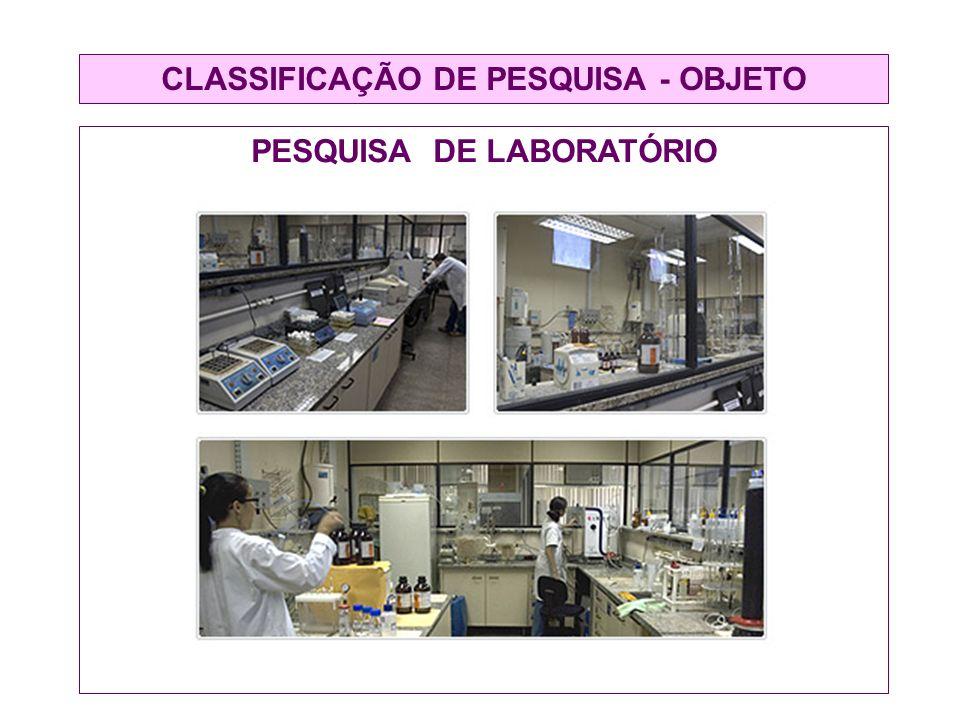 CLASSIFICAÇÃO DE PESQUISA - OBJETO PESQUISA DE LABORATÓRIO
