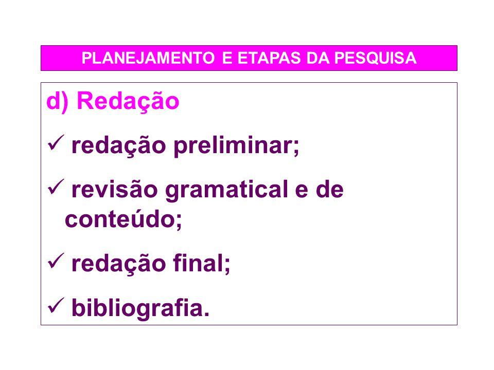 PLANEJAMENTO E ETAPAS DA PESQUISA d) Redação redação preliminar; revisão gramatical e de conteúdo; redação final; bibliografia.