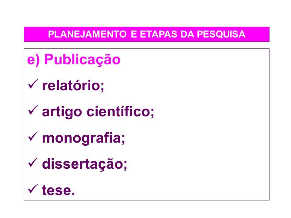 PLANEJAMENTO E ETAPAS DA PESQUISA e) Publicação relatório; artigo científico; monografia; dissertação; tese.