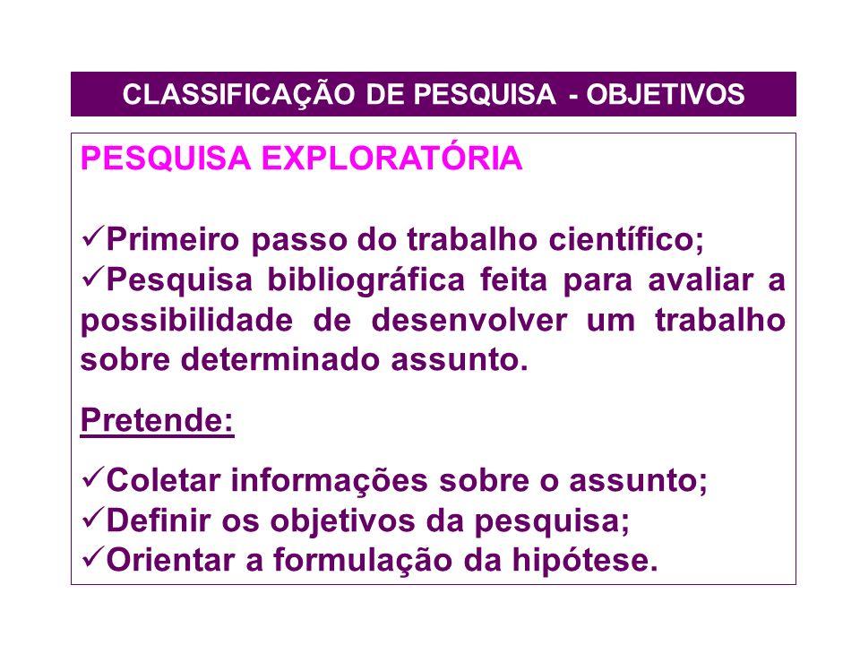 CLASSIFICAÇÃO DE PESQUISA - OBJETIVOS PESQUISA EXPLORATÓRIA Primeiro passo do trabalho científico; Pesquisa bibliográfica feita para avaliar a possibi