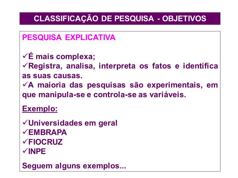CLASSIFICAÇÃO DE PESQUISA - OBJETIVOS PESQUISA EXPLICATIVA É mais complexa; Registra, analisa, interpreta os fatos e identifica as suas causas. A maio