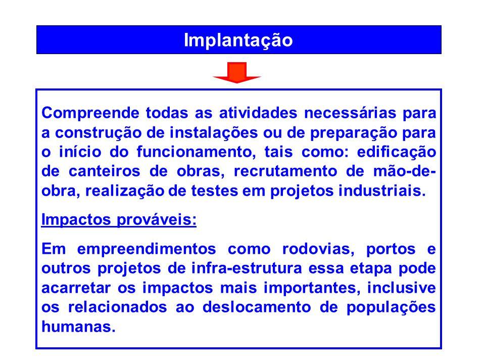 Implantação Compreende todas as atividades necessárias para a construção de instalações ou de preparação para o início do funcionamento, tais como: ed
