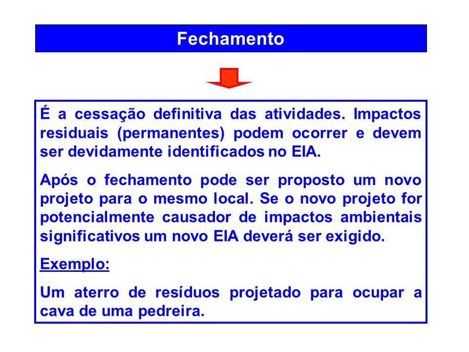 Fechamento É a cessação definitiva das atividades. Impactos residuais (permanentes) podem ocorrer e devem ser devidamente identificados no EIA. Após o