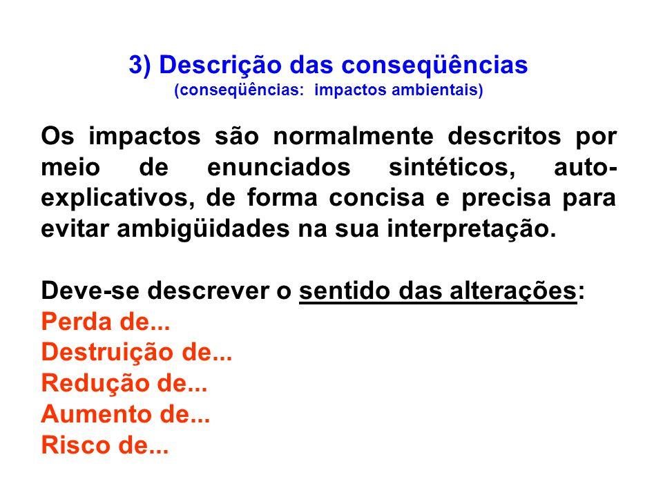 3) Descrição das conseqüências (conseqüências: impactos ambientais) Os impactos são normalmente descritos por meio de enunciados sintéticos, auto- exp