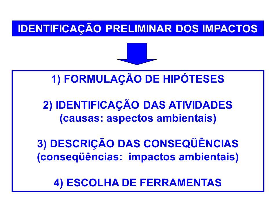 3) Descrição das conseqüências (conseqüências: impactos ambientais) Os impactos são normalmente descritos por meio de enunciados sintéticos, auto- explicativos, de forma concisa e precisa para evitar ambigüidades na sua interpretação.