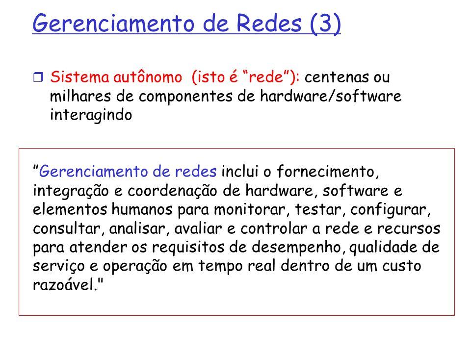 Protocolo SNMP: tipos de mensagens GetRequest GetNextRequest GetBulkRequest Manager-to-agent: me envie dados (instância,próximo na lista, bloco) Tipo de Mensagem Função InformRequest Manager-to-Manager: eis o valor da MIB SetRequest Manager-to-agent: define valor da MIB Response Agent-to-manager: valor, resposta ao pedido Trap Agent-to-manager: informa gerenciador de evento excepcional