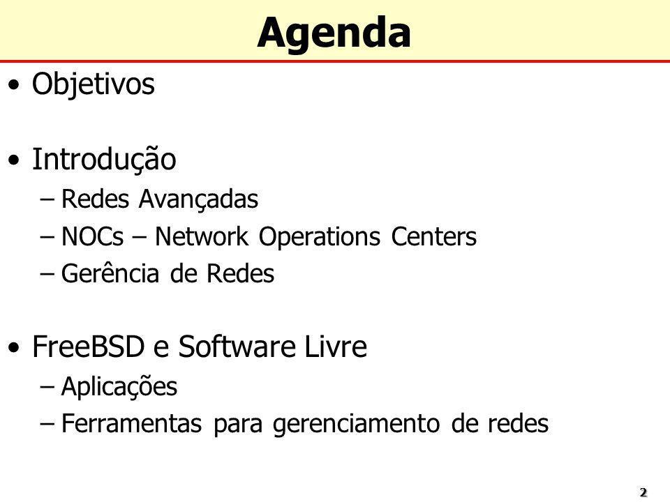 22 Agenda Objetivos Introdução –Redes Avançadas –NOCs – Network Operations Centers –Gerência de Redes FreeBSD e Software Livre –Aplicações –Ferramenta