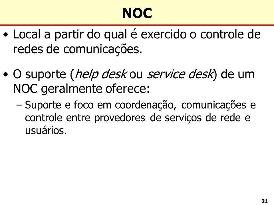 2121 Local a partir do qual é exercido o controle de redes de comunicações. O suporte (help desk ou service desk) de um NOC geralmente oferece: –Supor