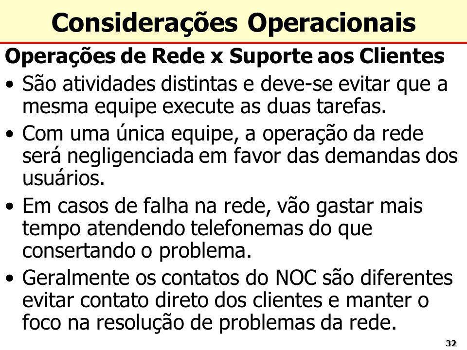 3232 Considerações Operacionais Operações de Rede x Suporte aos Clientes São atividades distintas e deve-se evitar que a mesma equipe execute as duas