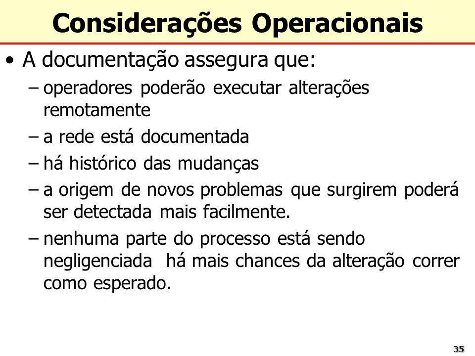 3535 Considerações Operacionais A documentação assegura que: –operadores poderão executar alterações remotamente –a rede está documentada –há históric