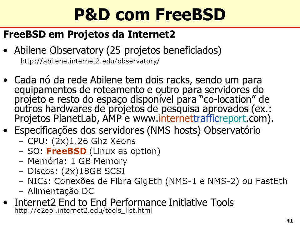 4141 P&D com FreeBSD FreeBSD em Projetos da Internet2 Abilene Observatory (25 projetos beneficiados) http://abilene.internet2.edu/observatory/ Cada nó