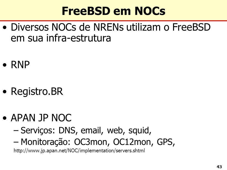 4343 FreeBSD em NOCs Diversos NOCs de NRENs utilizam o FreeBSD em sua infra-estrutura RNP Registro.BR APAN JP NOC –Serviços: DNS, email, web, squid, –
