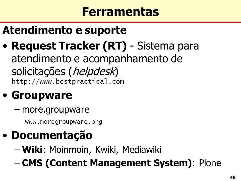 4848 Ferramentas Atendimento e suporte Request Tracker (RT) - Sistema para atendimento e acompanhamento de solicitações (helpdesk) http://www.bestprac