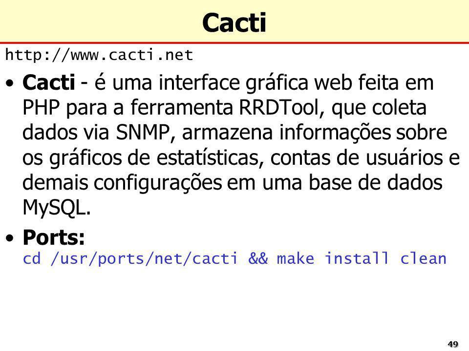 4949 Cacti http://www.cacti.net Cacti - é uma interface gráfica web feita em PHP para a ferramenta RRDTool, que coleta dados via SNMP, armazena inform