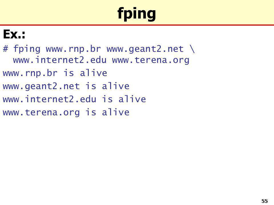 5555 fping Ex.: #fping www.rnp.br www.geant2.net \ www.internet2.edu www.terena.org www.rnp.br is alive www.geant2.net is alive www.internet2.edu is a