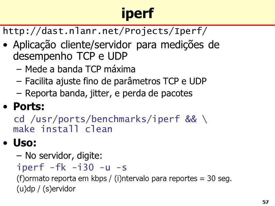 5757 iperf http://dast.nlanr.net/Projects/Iperf/ Aplicação cliente/servidor para medições de desempenho TCP e UDP –Mede a banda TCP máxima –Facilita a