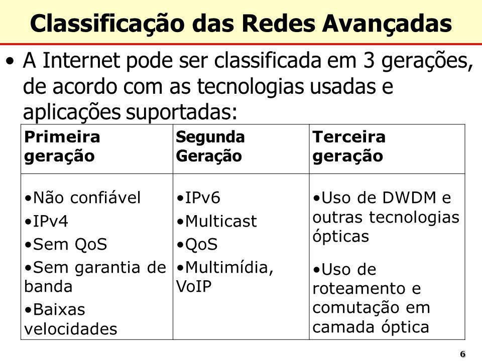 66 Classificação das Redes Avançadas A Internet pode ser classificada em 3 gerações, de acordo com as tecnologias usadas e aplicações suportadas: Prim