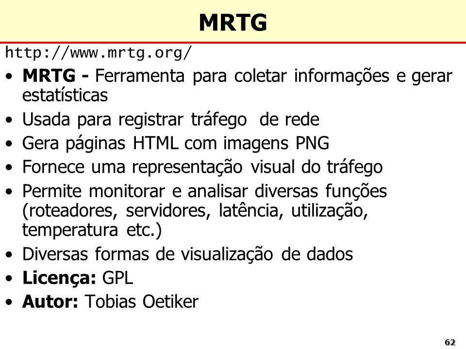 6262 MRTG http://www.mrtg.org/ MRTG - Ferramenta para coletar informações e gerar estatísticas Usada para registrar tráfego de rede Gera páginas HTML