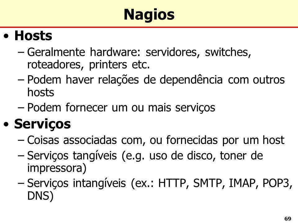 6969 Nagios Hosts –Geralmente hardware: servidores, switches, roteadores, printers etc. –Podem haver relações de dependência com outros hosts –Podem f