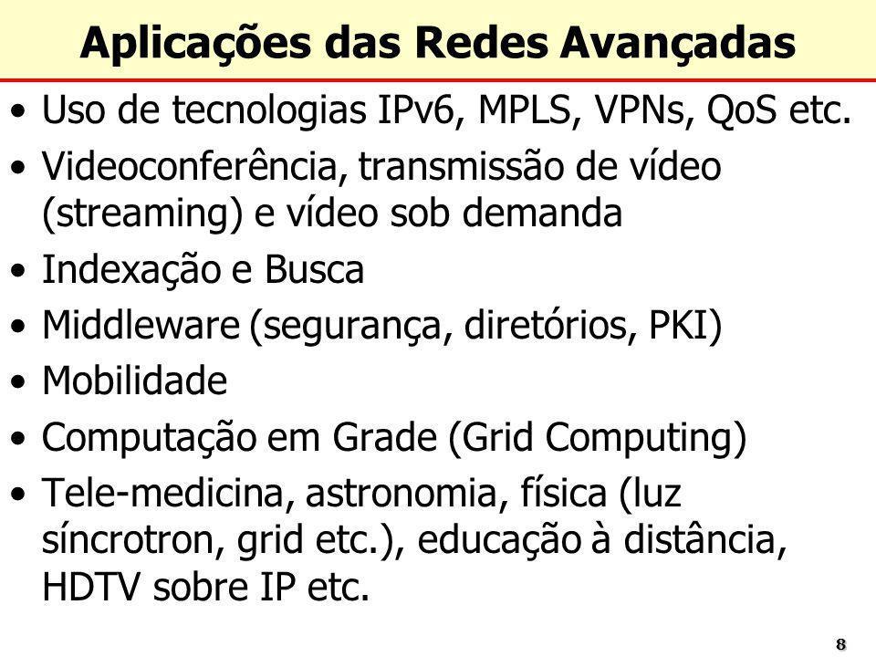88 Aplicações das Redes Avançadas Uso de tecnologias IPv6, MPLS, VPNs, QoS etc. Videoconferência, transmissão de vídeo (streaming) e vídeo sob demanda