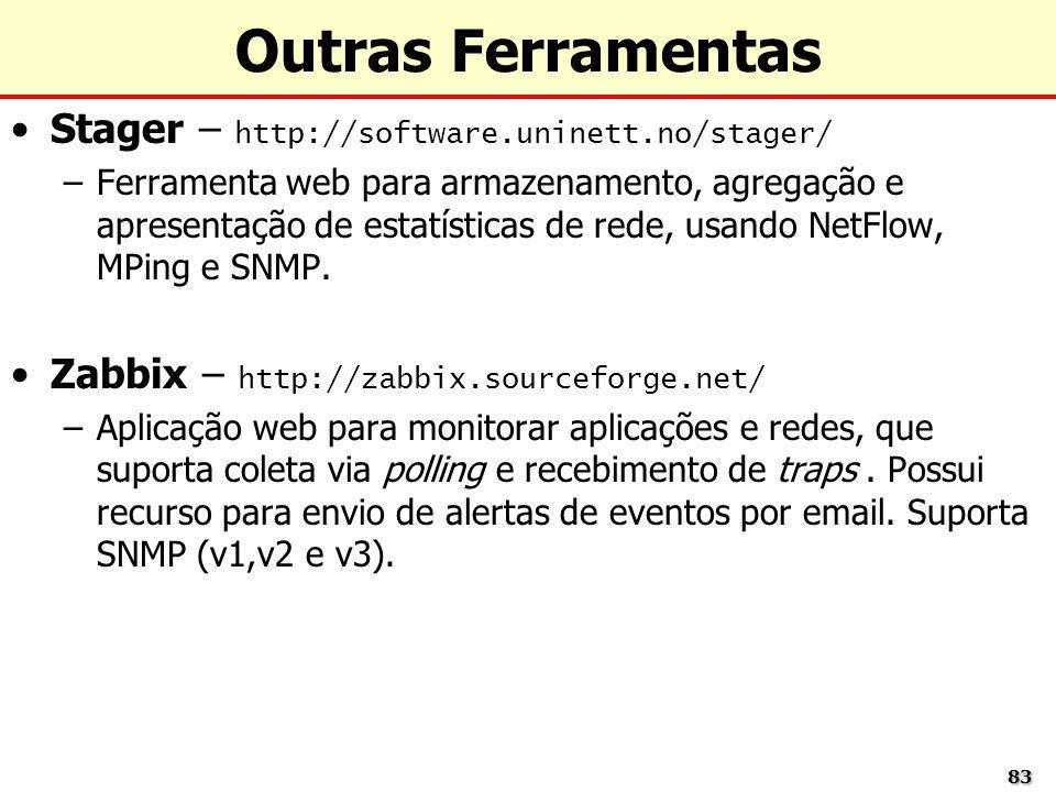 8383 Outras Ferramentas Stager – http://software.uninett.no/stager/ –Ferramenta web para armazenamento, agregação e apresentação de estatísticas de re
