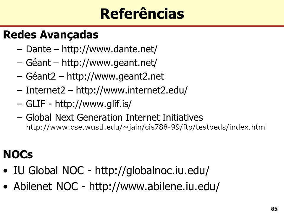 8585 Referências Redes Avançadas –Dante – http://www.dante.net/ –Géant – http://www.geant.net/ –Géant2 – http://www.geant2.net –Internet2 – http://www