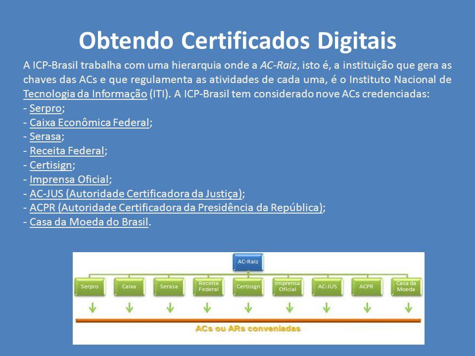 Obtendo Certificados Digitais A ICP-Brasil trabalha com uma hierarquia onde a AC-Raiz, isto é, a instituição que gera as chaves das ACs e que regulame