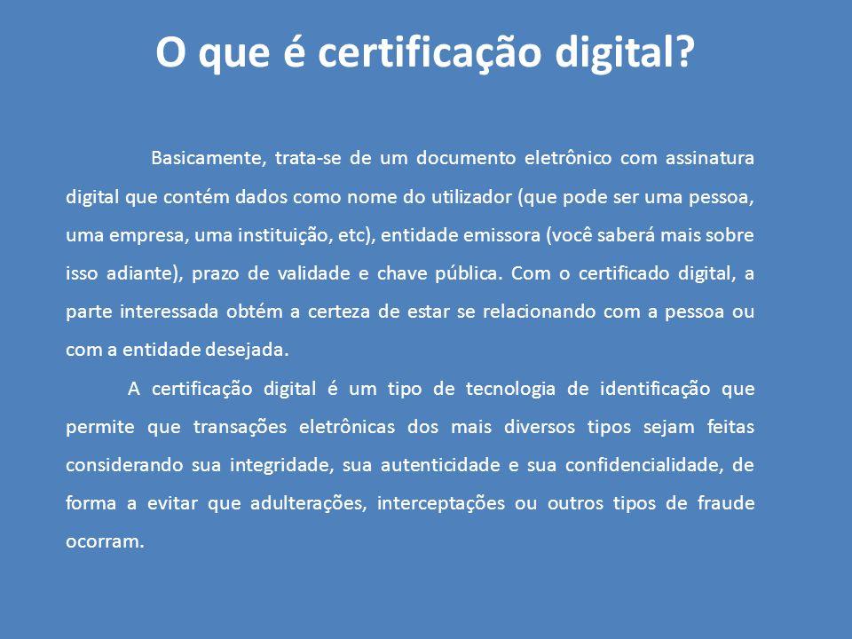 O que é certificação digital? Basicamente, trata-se de um documento eletrônico com assinatura digital que contém dados como nome do utilizador (que po
