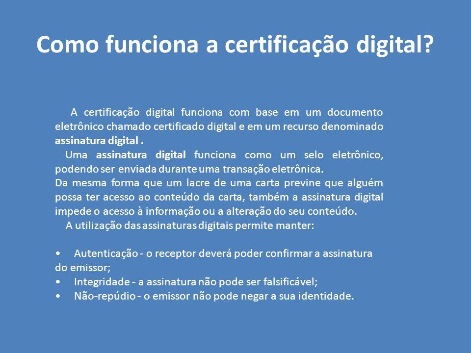 Como funciona a certificação digital? A certificação digital funciona com base em um documento eletrônico chamado certificado digital e em um recurso