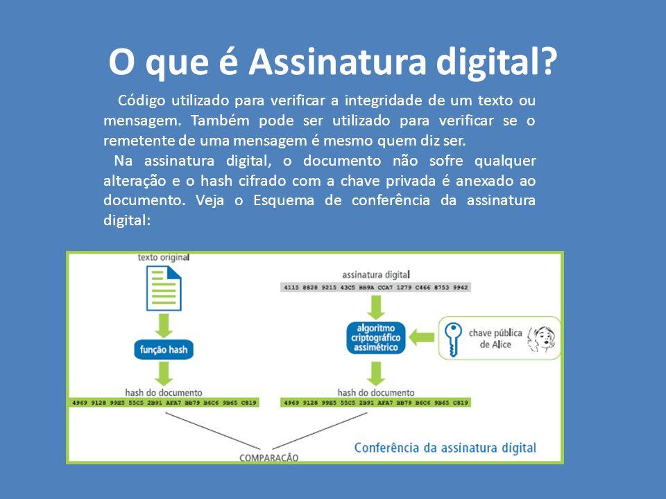 O que é Assinatura digital? Código utilizado para verificar a integridade de um texto ou mensagem. Também pode ser utilizado para verificar se o remet