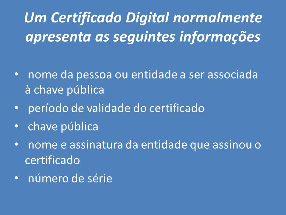 Um Certificado Digital normalmente apresenta as seguintes informações nome da pessoa ou entidade a ser associada à chave pública período de validade d