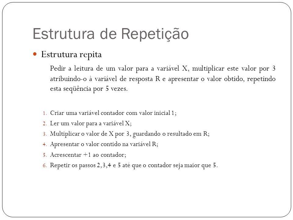 Estrutura de Repetição Estrutura repita Pedir a leitura de um valor para a variável X, multiplicar este valor por 3 atribuindo-o à variável de respost